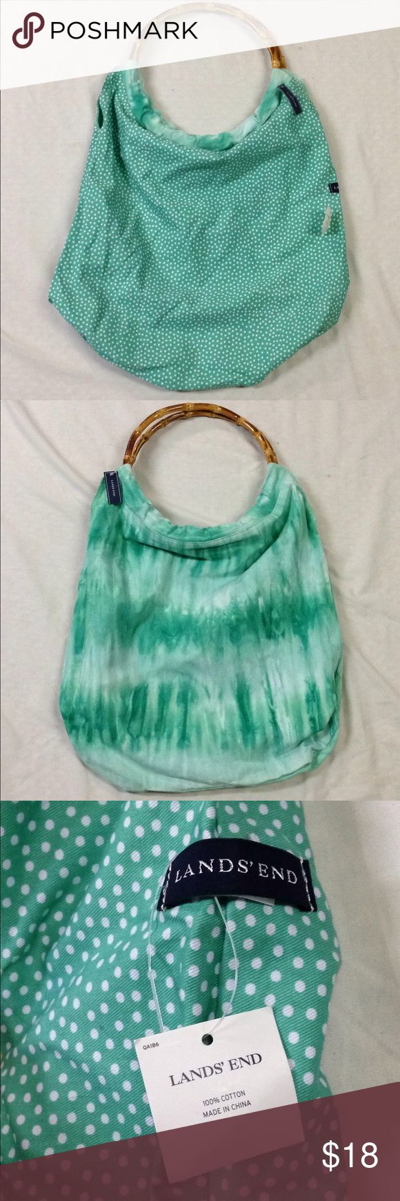 NWT Lands End reversible tote bag Brand new with tags! Reversible from polka dots to tye dye with faux bamboo handles. Measures approx 16x18 Lands' End Bags Totes