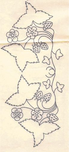 Strawberry garland vintage embroidery pattern