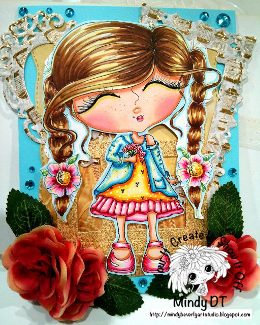 Mindy Beverly Art Studio: Bestie Girl with Flowers Card