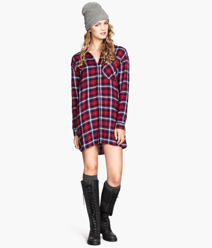 Red plaid shirt dress with front buttons, chest pocket, and long sleeves.│ H&M Divided