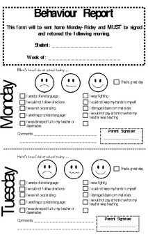 This form is used in a kindergarten classroom to notify parents of how students behaved each day of the week.  It is sent home on a daily basis and...