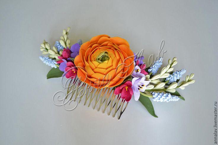 Купить Гребень с цветам из полимерной глины ранункулюс, мускари и фрезия - оранжевый, гребень для волос