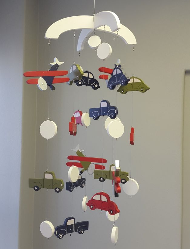 Our wooden #TransportTheme #BabyMobile in #red, #blue and #green is perfect for any #BabyBoy!  #BabyBedding #BabyLinen