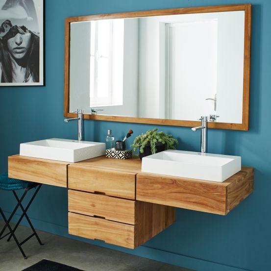 meuble de salle de bain en bois de teck suspendu bois dessus bois dessous - Meuble Salle De Bain Teck Suspendu