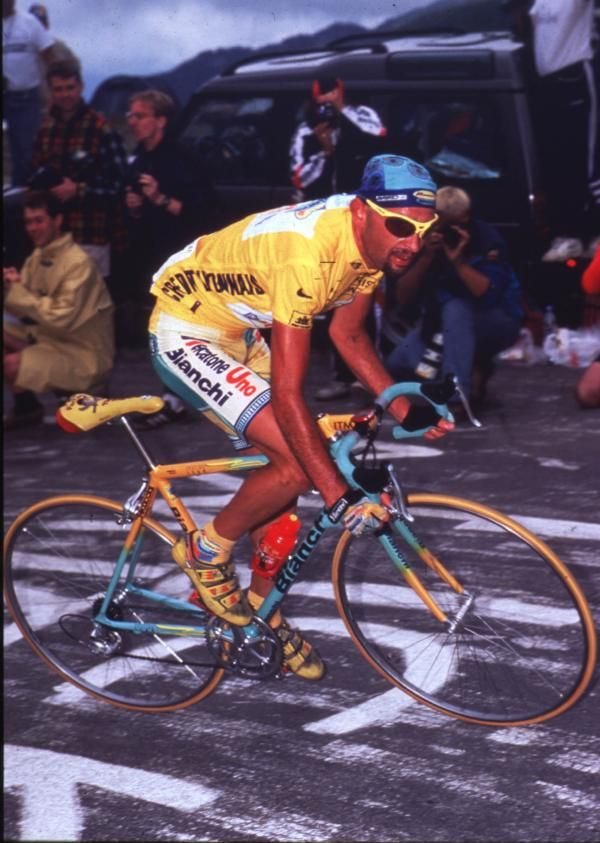 Marco Pantani rides to victory at the 1998 Tour de France.
