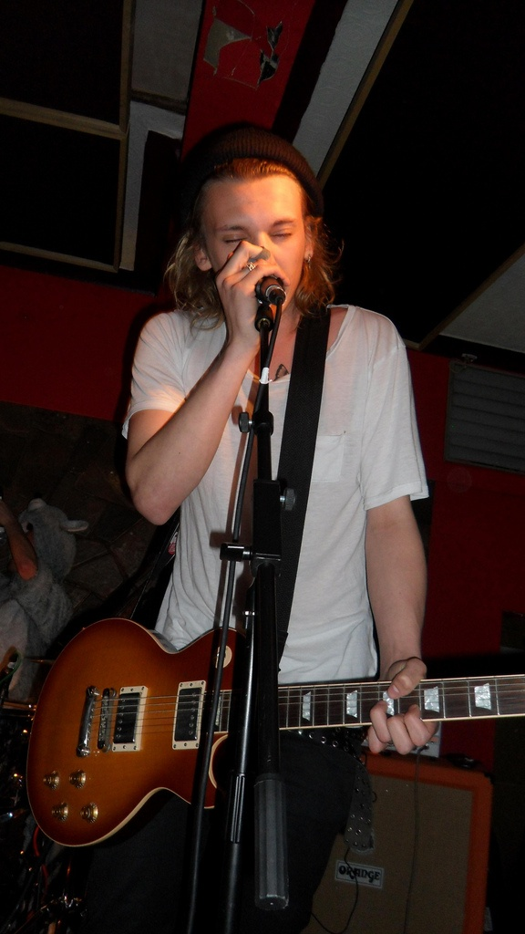 Jamie Campbell Bower performing with 'The Darling Buds'