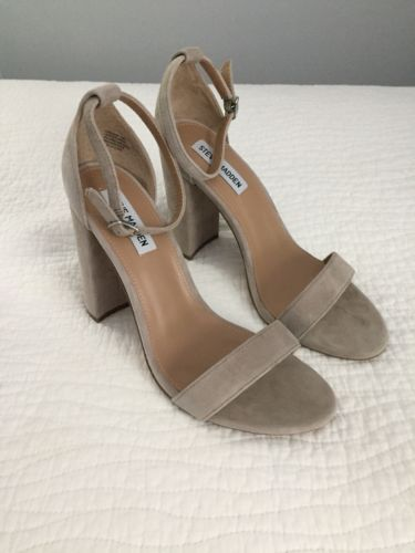 3bf751479e7 STEVE MADDEN Womens Carrson Taupe Suede Ankle Strap Heels Shoes Size ...