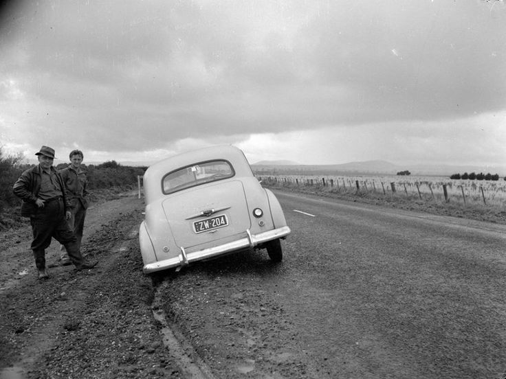 1954 - An FX Holden 48 -215 stuck on the soft edges of the Hume Highway.
