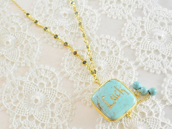 luck necklace, name necklace, handmade jewelry, luck jewelry,monogram necklace, calligraphy, amulet necklace, charm necklace, good luck Handmade luck necklace. Blue turqouise necklace, made only one for etsy. The 'luck' word engraved by a Turkish Calligraphy artist in Grand bazaar.