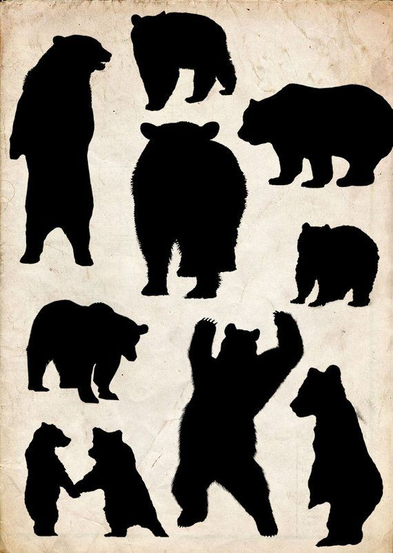 Bears Silhouette 9 Png Clipart Instant Download Clipart Etsy Bear Silhouette Silhouette Art Silhouette