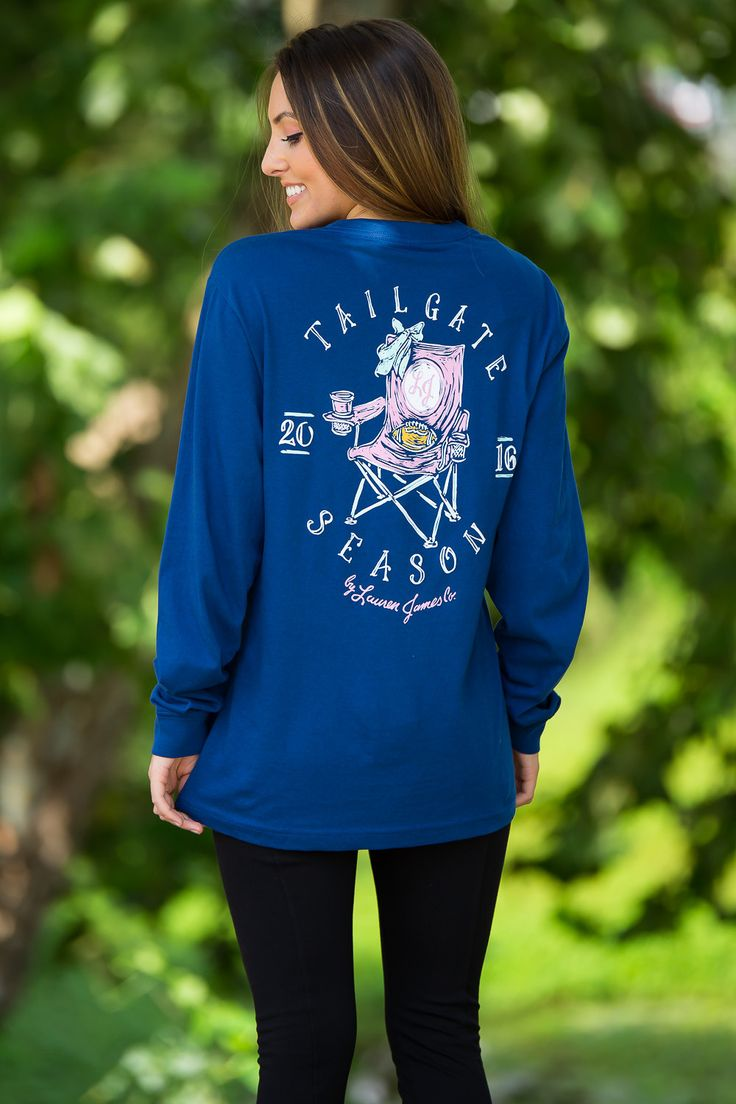 Lauren James-Tailgate Season Long Sleeve Top-Estate Blue