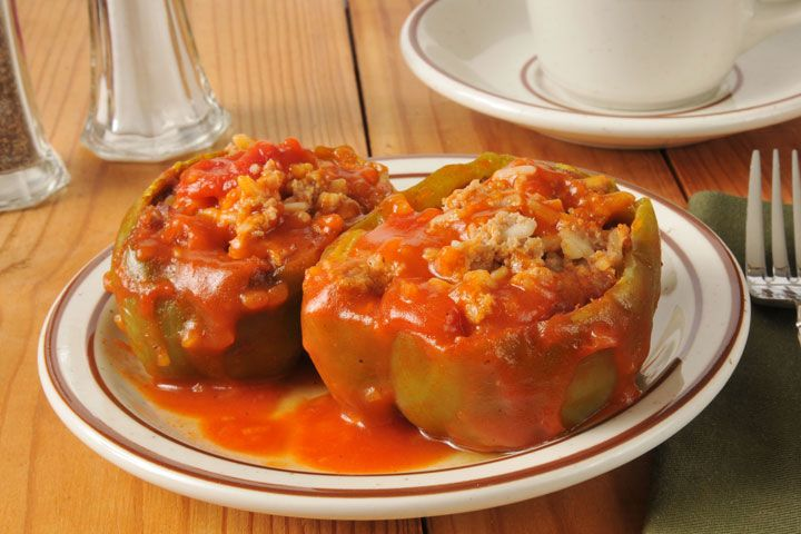 Stuffed Green Peppers - use cooked brown rice for stuffing instead of white/basmati for healthier and leaner option.