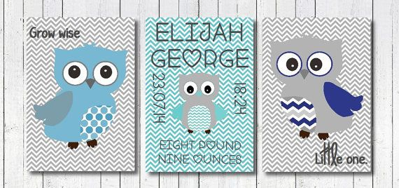 Blue and Grey Owl Nursery Art Print Baby by PerfectLittlePrints