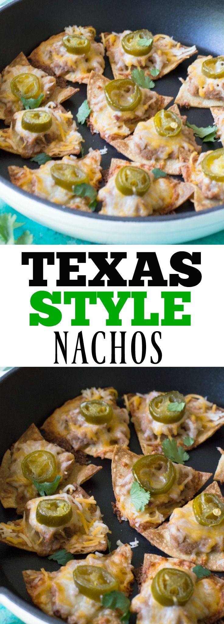 Texas Nachos!  Enjoy nachos the way the Texans do!  This simple dish is the perfect snack or appetizer to satisfy your mexican food cravings.
