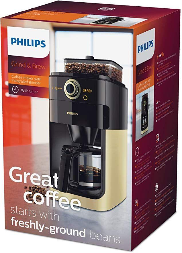 Philips Grind Brew Hd7798 90 Filter Kaffeemaschine Mahlwerk Timerfunktion Champagner Schwarz Filterkaffeemaschine Kaffeemaschine Mahlwerk Kaffeemaschine