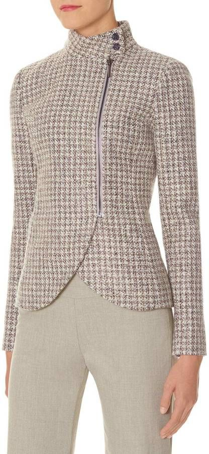 Funnel Neck Tweed Jacket