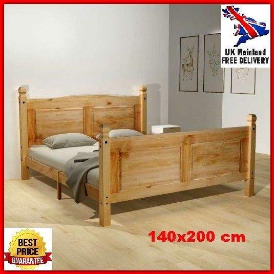 unique bed frame double traditional heavy duty wooden pine solid adult sleeper