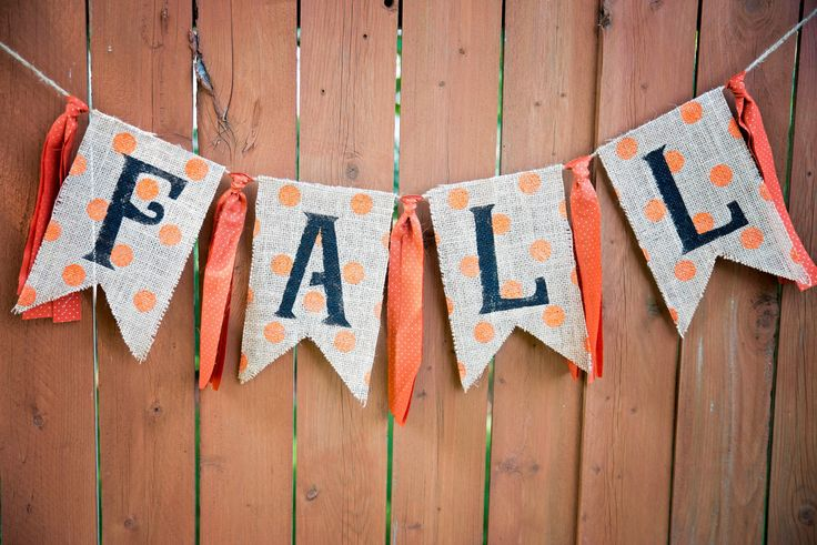 FALL AUTUMN Halloween Burlap Banner, Pendant Banner, Burlap Ribbon Bunting, Fall Decor, Photo Prop, Rustic Fall Garland, Burlap Garland by BlueBirdShack on Etsy