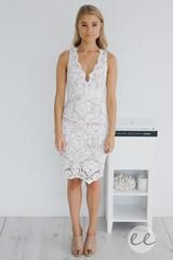 Mia Lace Dress (Ivory) - White Lace Midi - Esther Boutique