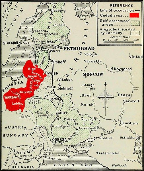 The Treaty of Brest-Litovsk it signed with the Central Powers on March 3, 1918. The new European borders according to the B-L Treaty.