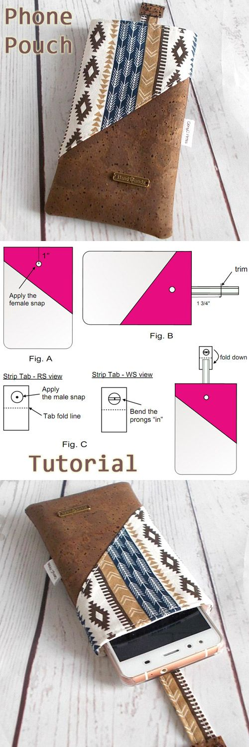 Sleeve Phone Pouch Tutorial. Instructions to adapt to any phone size and also a snap closure included.  http://www.free-tutorial.net/2017/09/sleeve-phone-pouch-tutorial.html
