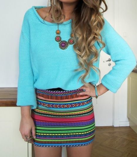 Vibrant colors.: Summer Outfit, Dreams Closet, Bright Color, Ombre Hair, Summer Color, Cute Outfit, Tribal Skirts, Hair Color, Cute Skirts
