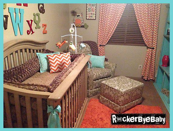 Punk Animal Chevron Or Baroque Print Four Piece Crib Bedding Set Baby Made Of Minky Pick From Leopard Zebra Giraffe Cow