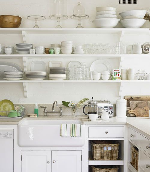 lots of it.: Cabinets, Kitchens Shelves, Kitchens Design, Open Shelves, Farms Sinks, Baskets, Farmhouse Sinks, Open Kitchens, White Kitchens