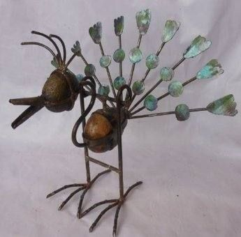 Rustic Wronght Iron And R%iver Stone   Peacock Garden Sculpture $95.00  Allthingspeacock.com