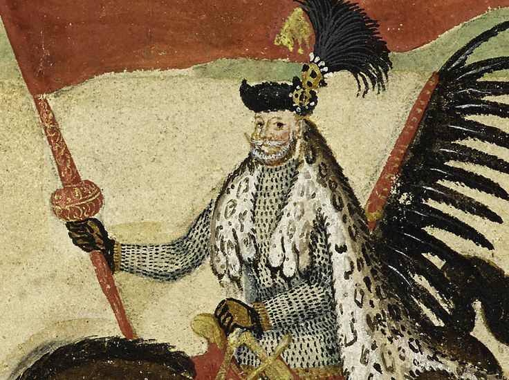 Fragment Rulonu polskiego, ok. 1605r. - chorąży nadworny Sebastian Sobieski.