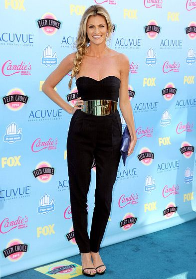 black jumpsuit Loving Erin Andrews' loose braid!