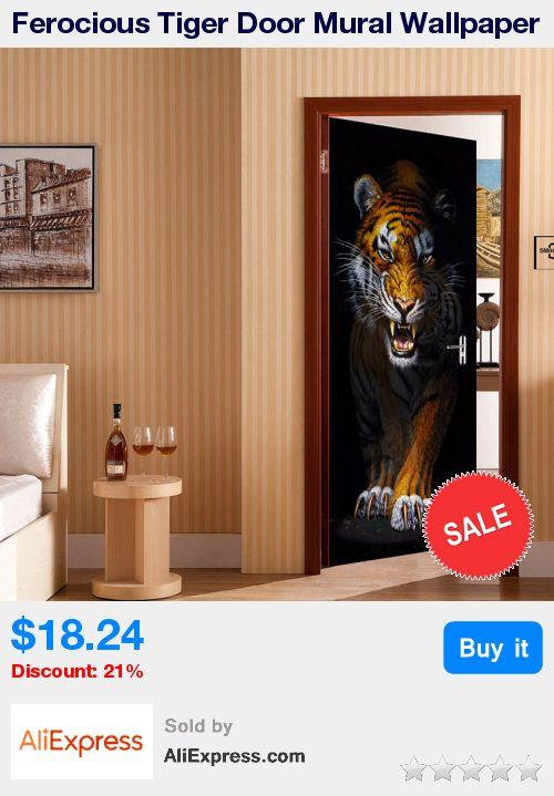 Ferocious Tiger Door Mural Wallpaper Living Room Bedroom Door Creative DIY Decorative PVC Self-adhesive Waterproof Sticker Paper * Pub Date: 13:24 Jul 5 2017