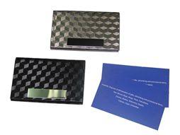 Description :  3D PU Namecard Case Colour :  Black, Silver   Packaging :  Black Gift Box  Unit Size :  H9.2 x W6 x B1.2 cm