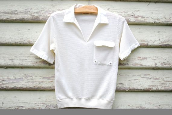 70s Vintage Off White Mesh Polo Shirt Retro by GamineRagVintage