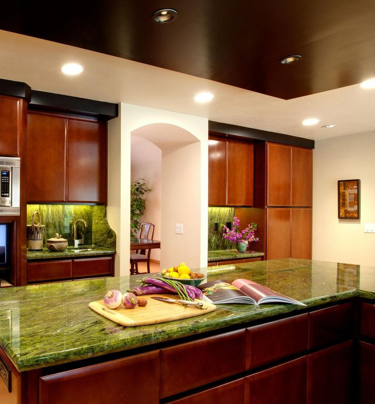 Kitchen:Rainforest Green Granite Kitchen Countertops — Smith Design Back To Custom Price Slab Prices Colors Concrete Cost Countertop Sealer Installation Slabs Stone Pictures Green Granite Countertops Kitchen