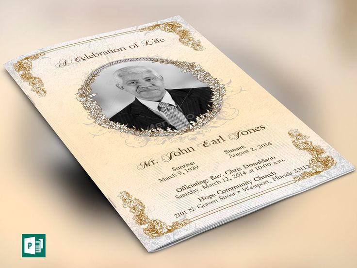 Victorian Funeral Program Publisher Template for Microsoft Publisher is for commemorative or home going service. Designed specifically for funerals but can be edited for weddings etc. Decorated with beautiful victorian ornaments.  This template is a Microsoft Publisher Template designed by Godserv