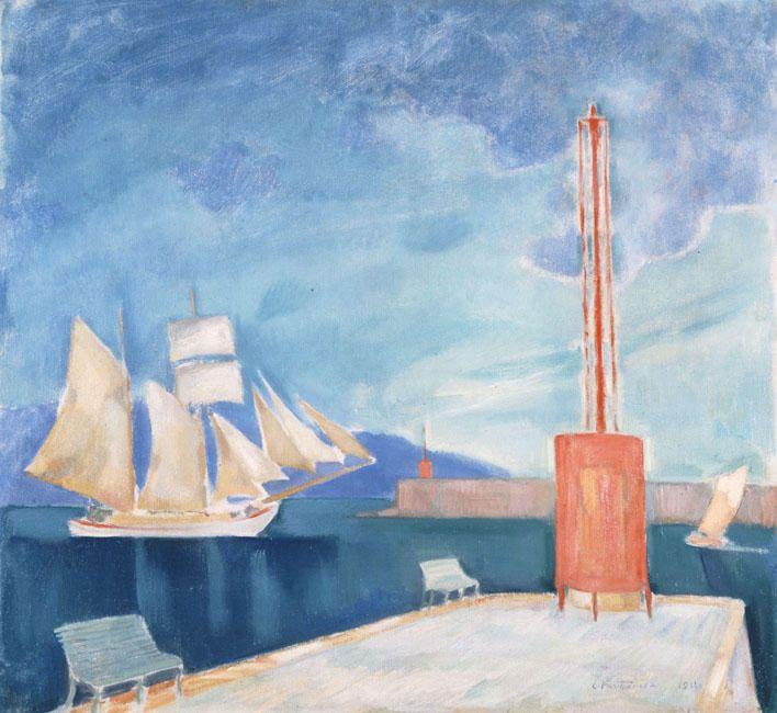 kaufen Gemälde'Der Hafen von Kalamata' von Konstantinos Parthenis - Kaufen Sie eine handgemalte Ölreproduktion , Kunstreproduktion, Ölgemäldereproduktionen, Kunst auf Leinwand, Kunstwerksreproduktion, Leinwand Ölgemälde Reproduktion Kunstwerk