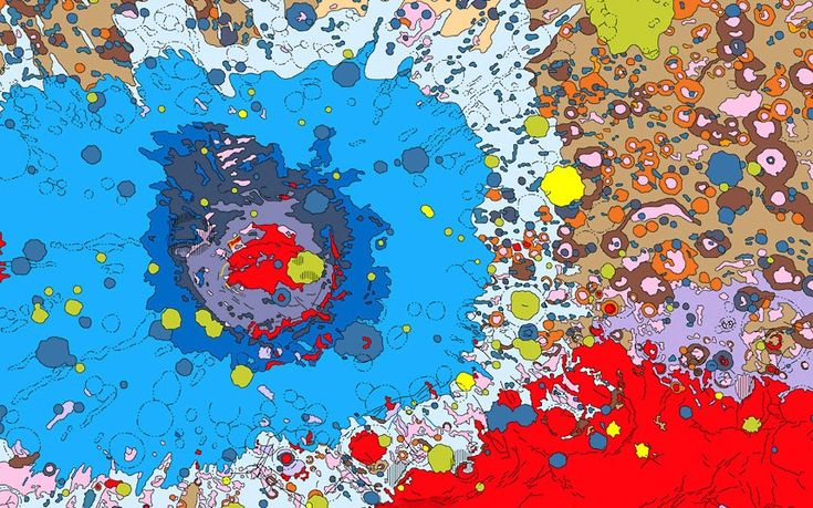 Geologic map of the moon based on photographs from the Lunar orbiter spacecraft and albedo (surface reflectivity) data from the Russian Zond 8 spacecraft. The large bulls-eye structure is the Mare Orientale, an impact basin measuring 900 kilometres across.