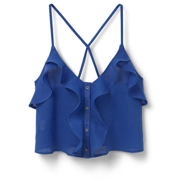 MANGO Ruffle Ramie-Blend Top ($15) ❤ liked on Polyvore featuring tops, crop tops, tank tops, ruffle crop top, flutter crop top, flounce top, blue crop top and ruffle top