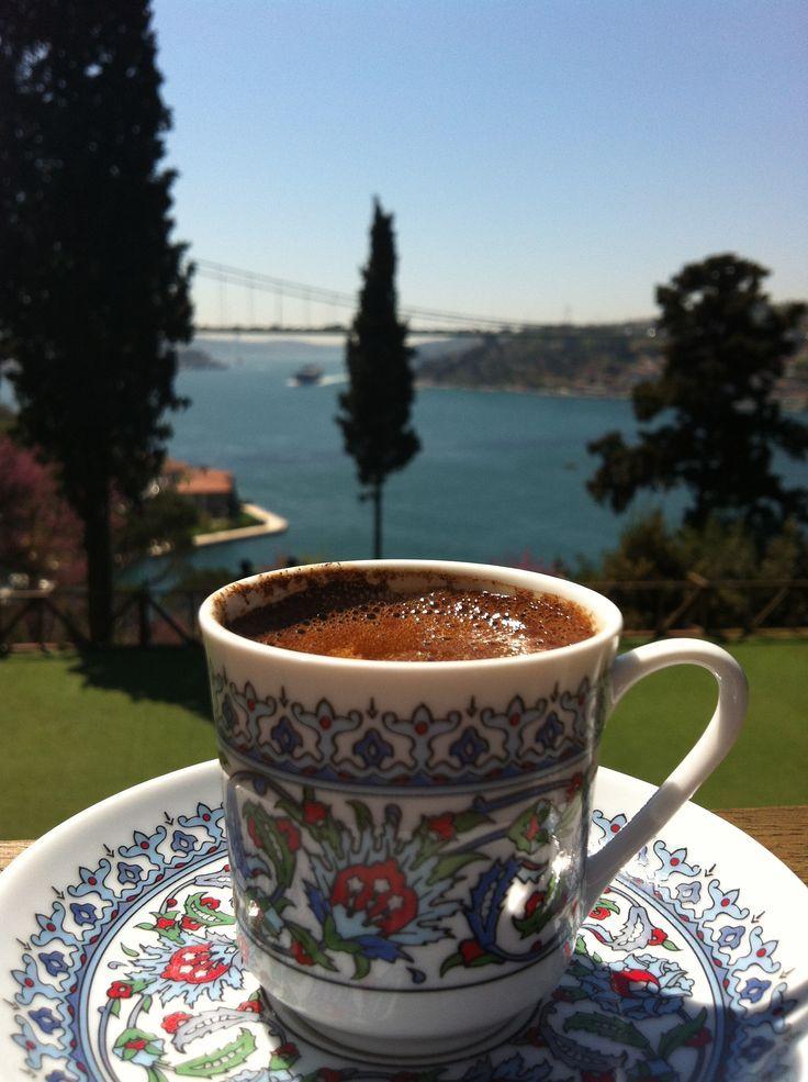 one cap of coffee. Bosporus. Istanbul. Turkey