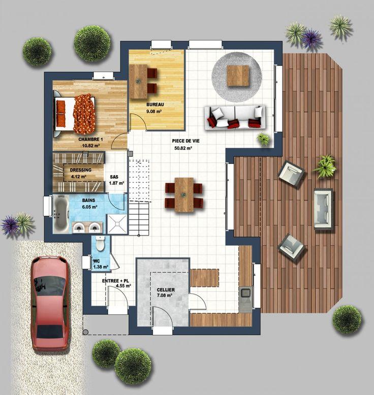 Chambre Couleur Bleu Et Taupe :  bois, Constructeur maison contemporaine et Construction maison