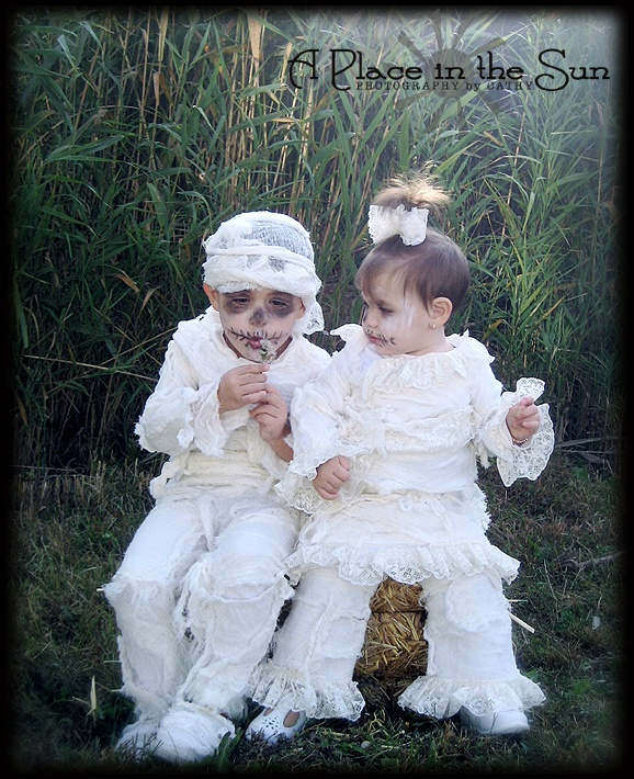Toddler Brother and sister - Mummy Halloween Costumes!  Cheesecloth and Lace! :)