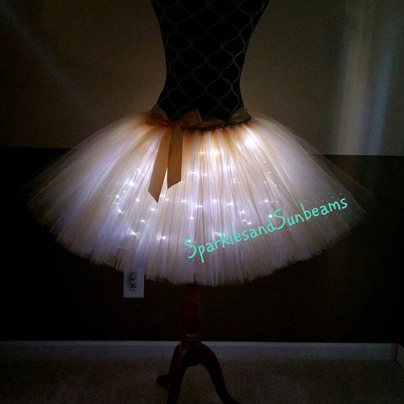 Adult size Light Up Tutu Rave Wear Costume Accessory fnt Black or White