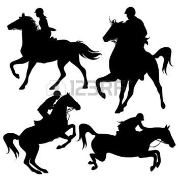 horse silhouette: horsemen fine  silhouettes - horseback jockeys black detailed outlines over white (horses are not merged with riders and can be easily edited) Illustration