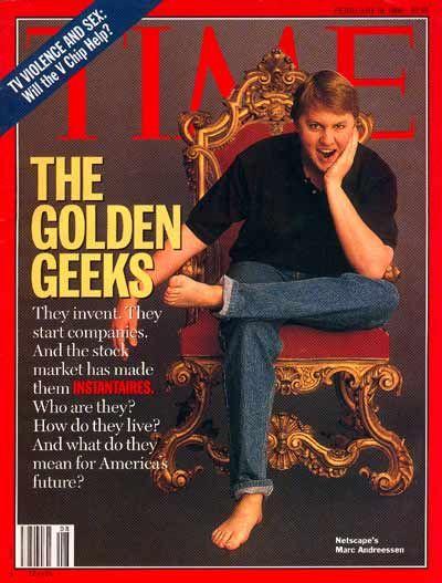Marc Andreessen est né en 1971. En 1993, il a développé Mosaic, le premier navigateur web complet disponible pour les systèmes d'exploitation Mac OS, Windows et UNIX. Mosaic donne aux utilisateurs d'Internet un accès facile aux sources d'information multimédia. Avec James H. Clark, il fondera Netscape qui est la première entreprise entièrement orientée vers Internet.
