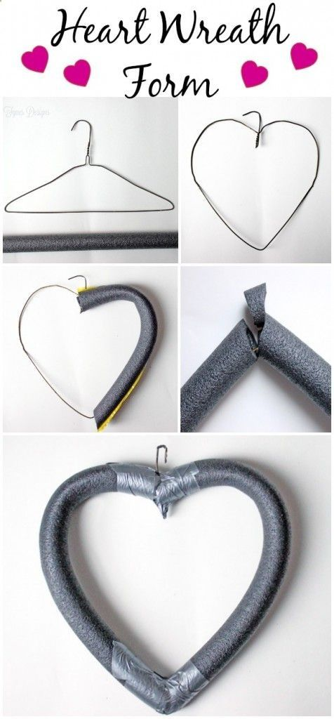 DIY Cheap and Easy shaped wreath form- made from a coat hanger and pool noodle. Then decorate!