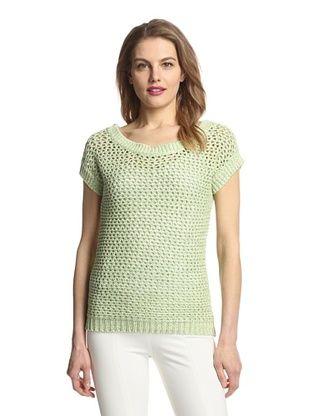 66% OFF Zero Degrees Celsius Women's Short Sleeve Crochet Sweater (Ivory/Green)