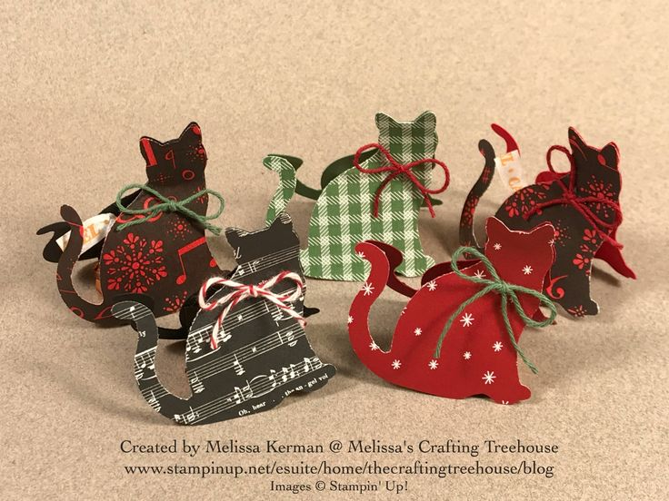 """DIY Chocolate Cat """"Kiss"""" Treats made with the Quilted Christmas, Be Merry and Merry Music designer series paper by Stampin' Up!. Could be such a cute stocking stuffer!"""