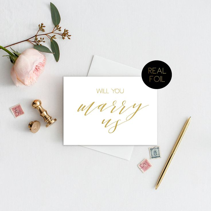do you invite officiant to wedding reception%0A Will You Marry Us Card  Officiant Card  Foil Card  Wedding Card  Real