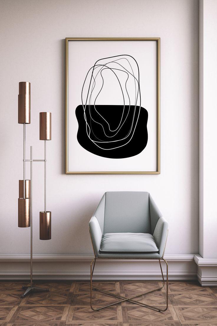 Mid Century Modern Black And White Geometric Wall Art Printable For Minimalist Abstract Decor By L Wall Decor Printables Minimalist Wall Art Creative Wall Art